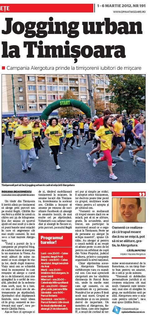 OpiniaTimisoarei.ro - Jogging urban la Timisoara. Campania Alergotura prinde la timisorenii iubitori de miscare