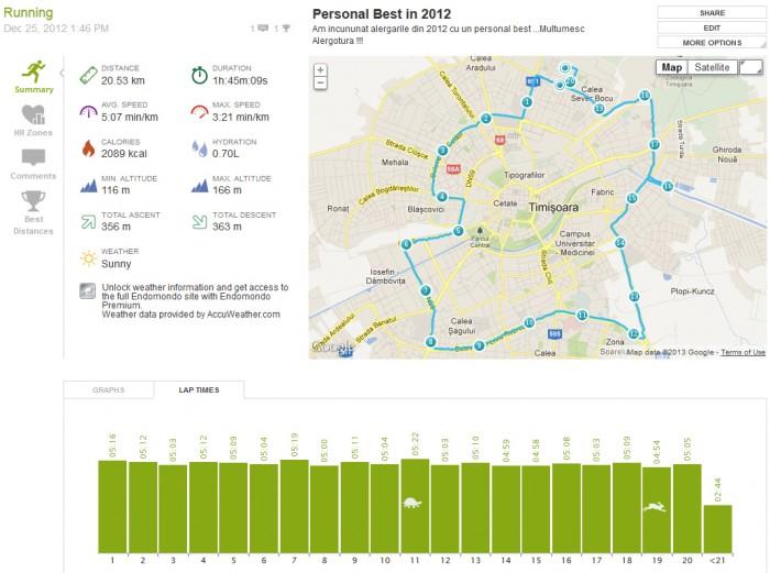 Traseu si timpi la alergarea de peste 20 km